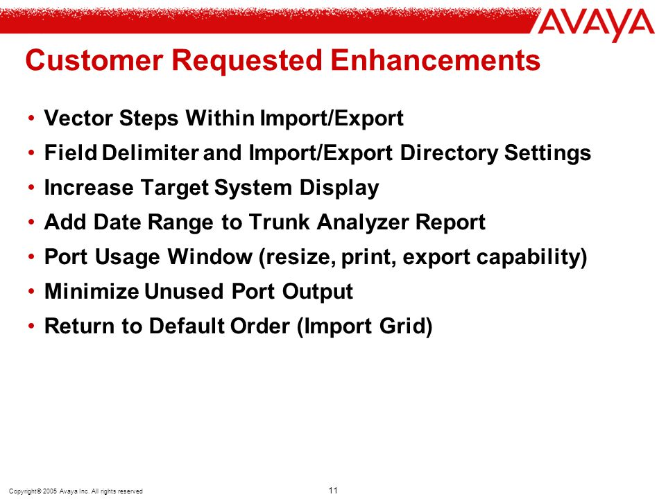 Copyright© 2005 Avaya Inc. All rights reserved 11 Customer Requested Enhancements Vector Steps Within Import/Export Field Delimiter and Import/Export
