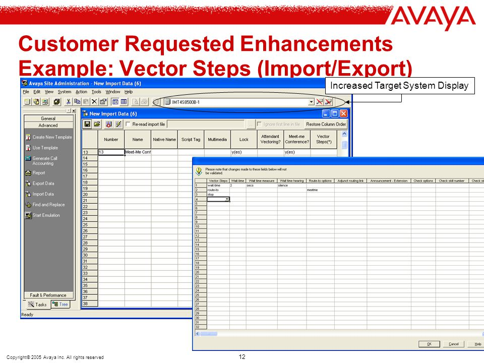 Copyright© 2005 Avaya Inc. All rights reserved 12 Customer Requested Enhancements Example: Vector Steps (Import/Export) Increased Target System Displa