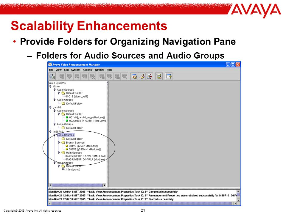 Copyright© 2005 Avaya Inc. All rights reserved 21 Scalability Enhancements Provide Folders for Organizing Navigation Pane –Folders for Audio Sources a
