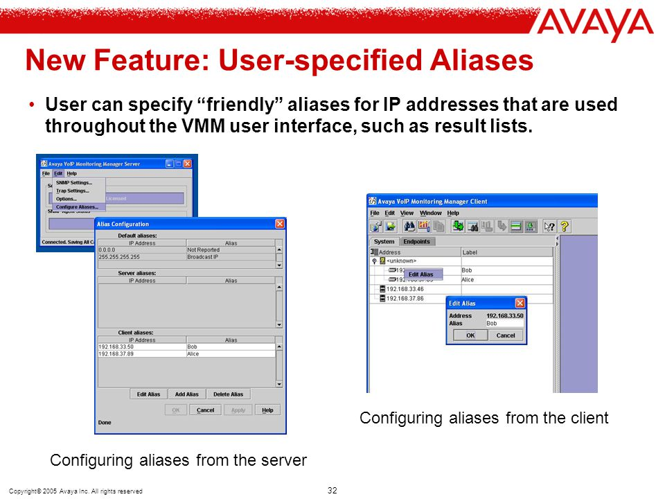 "Copyright© 2005 Avaya Inc. All rights reserved 32 New Feature: User-specified Aliases User can specify ""friendly"" aliases for IP addresses that are us"