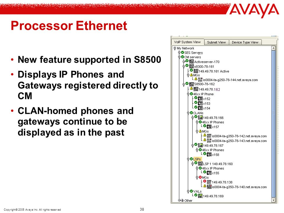 Copyright© 2005 Avaya Inc. All rights reserved 38 Processor Ethernet New feature supported in S8500 Displays IP Phones and Gateways registered directl