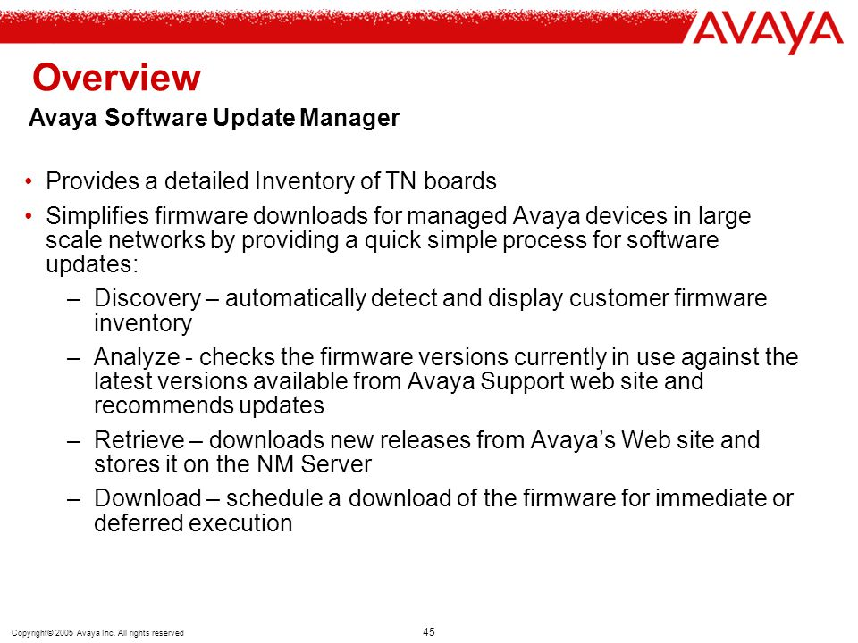 Copyright© 2005 Avaya Inc. All rights reserved 45 Overview Provides a detailed Inventory of TN boards Simplifies firmware downloads for managed Avaya