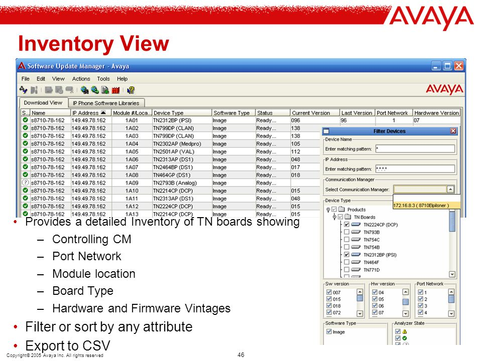 Copyright© 2005 Avaya Inc. All rights reserved 46 Inventory View Provides a detailed Inventory of TN boards showing –Controlling CM –Port Network –Mod