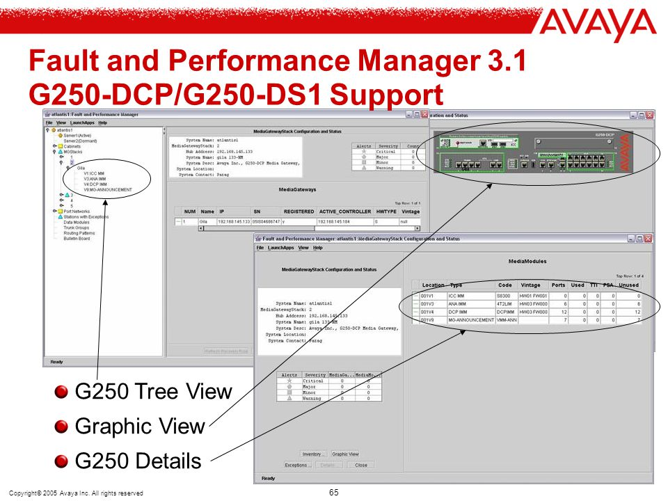 Copyright© 2005 Avaya Inc. All rights reserved 65 Fault and Performance Manager 3.1 G250-DCP/G250-DS1 Support G250 Tree View Graphic View G250 Details