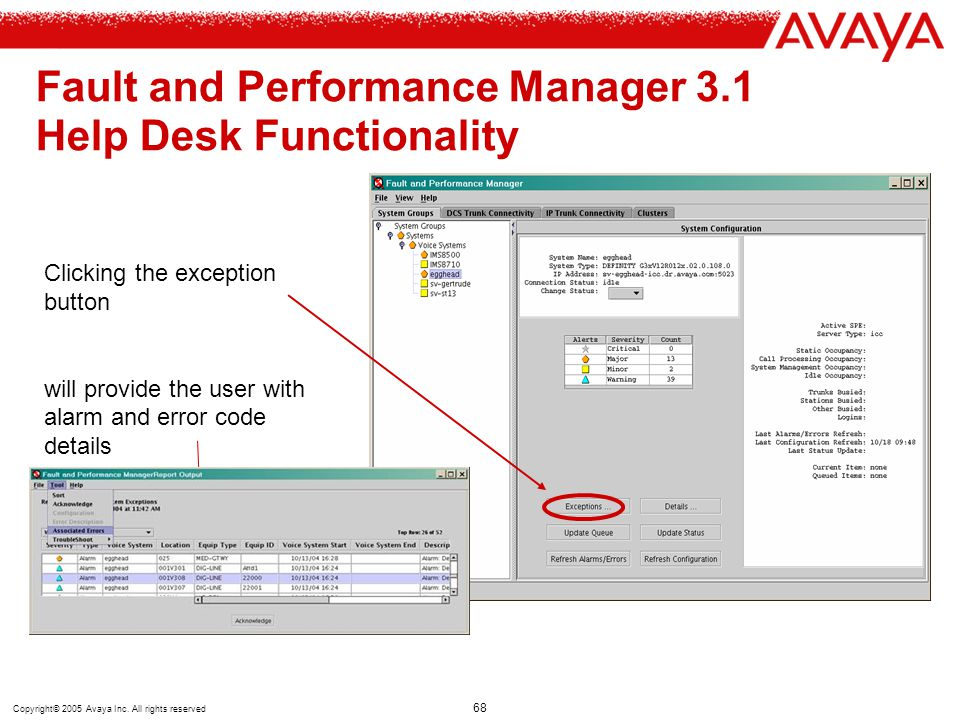 Copyright© 2005 Avaya Inc. All rights reserved 68 Fault and Performance Manager 3.1 Help Desk Functionality Clicking the exception button will provide
