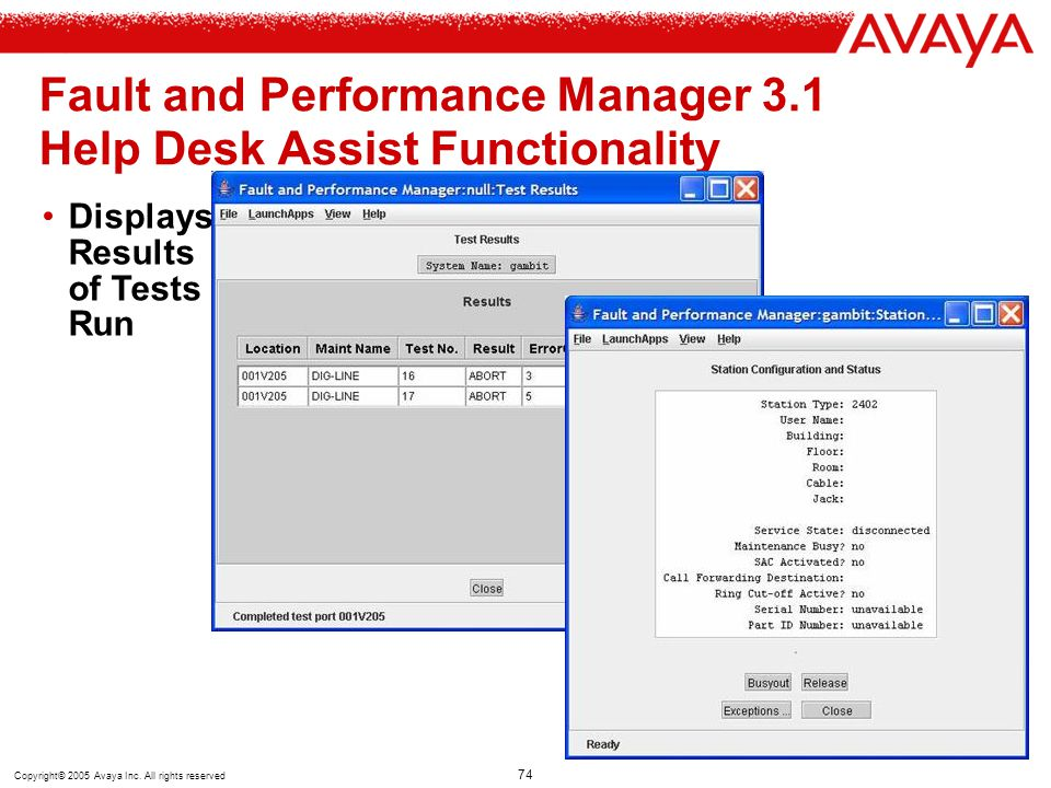Copyright© 2005 Avaya Inc. All rights reserved 74 Fault and Performance Manager 3.1 Help Desk Assist Functionality Displays Results of Tests Run