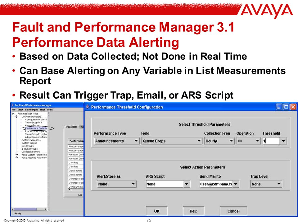 Copyright© 2005 Avaya Inc. All rights reserved 75 Fault and Performance Manager 3.1 Performance Data Alerting Based on Data Collected; Not Done in Rea
