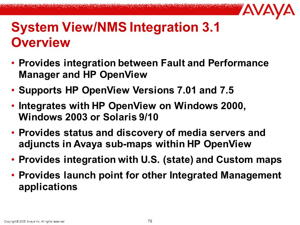 Copyright© 2005 Avaya Inc. All rights reserved 78 System View/NMS Integration 3.1 Overview Provides integration between Fault and Performance Manager