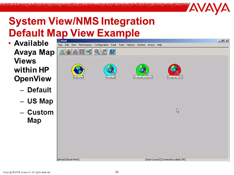 Copyright© 2005 Avaya Inc. All rights reserved 80 System View/NMS Integration Default Map View Example Available Avaya Map Views within HP OpenView –D