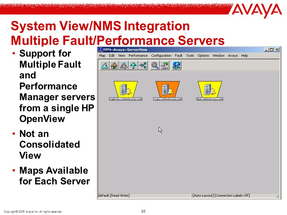 Copyright© 2005 Avaya Inc. All rights reserved 85 System View/NMS Integration Multiple Fault/Performance Servers (Scalability) Support for Multiple Fa