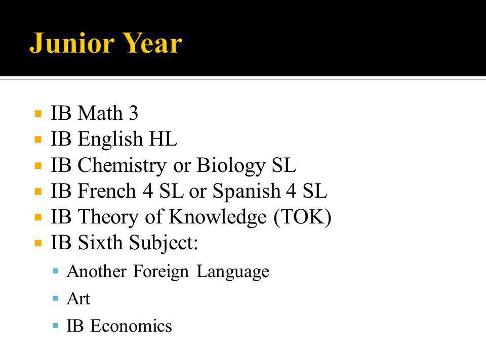  IB Math 3  IB English HL  IB Chemistry or Biology SL  IB French 4 SL or Spanish 4 SL  IB Theory of Knowledge (TOK)  IB Sixth Subject:  Another