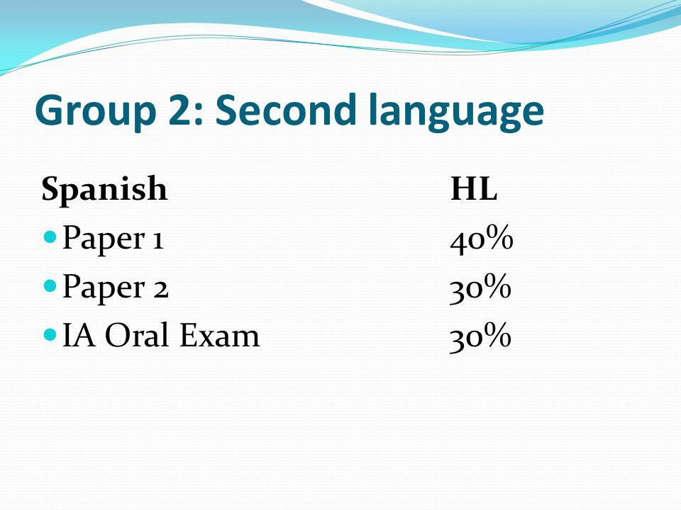 Group 2: Second language SpanishHL Paper 140% Paper 230% IA Oral Exam30%