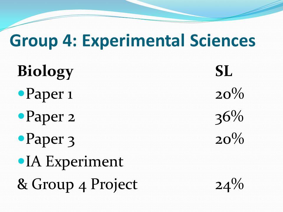 Group 4: Experimental Sciences BiologySL Paper 120% Paper 236% Paper 320% IA Experiment & Group 4 Project24%