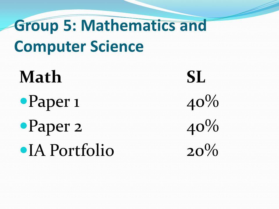 Group 5: Mathematics and Computer Science Math SL Paper 140% Paper 240% IA Portfolio20%