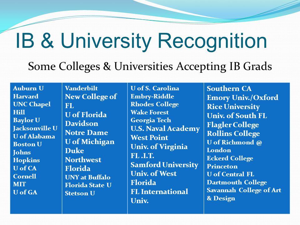 IB & University Recognition Some Colleges & Universities Accepting IB Grads Auburn U Harvard UNC Chapel Hill Baylor U Jacksonville U U of Alabama Bost