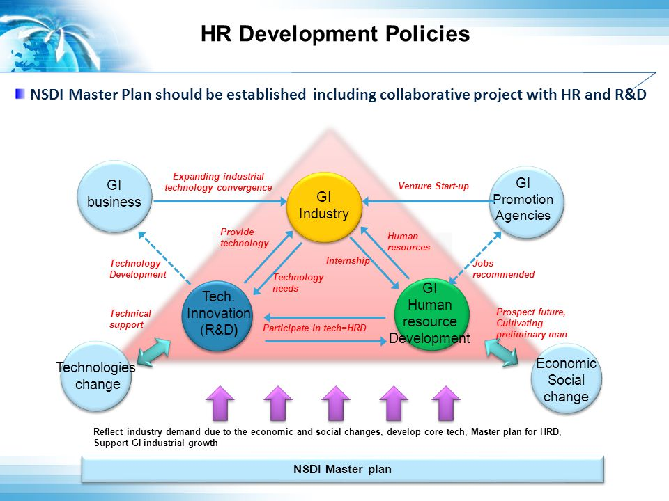 HR Development Policies NSDI NSDI Master Plan should be established including collaborative project with HR and R&D NSDI Master plan Reflect industry
