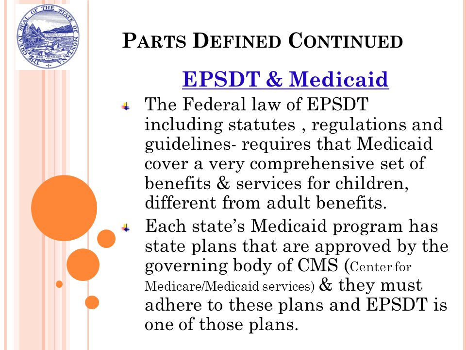P ARTS D EFINED C ONTINUED EPSDT & Medicaid The Federal law of EPSDT including statutes, regulations and guidelines- requires that Medicaid cover a ve