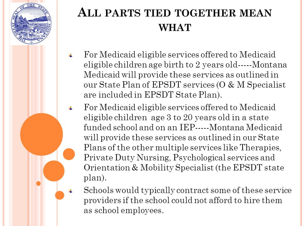 A LL PARTS TIED TOGETHER MEAN WHAT For Medicaid eligible services offered to Medicaid eligible children age birth to 2 years old-----Montana Medicaid will provide these services as outlined in our State Plan of EPSDT services (O & M Specialist are included in EPSDT State Plan).