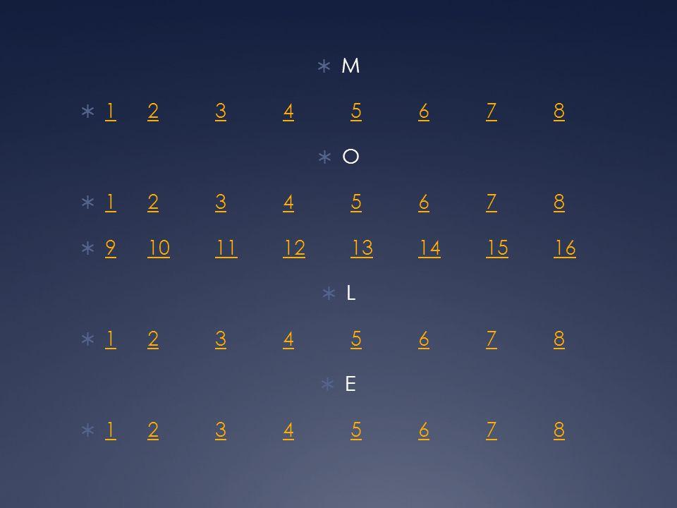  M  12345678 12345678  O  12345678 12345678  910111213141516 910111213141516  L  12345678 12345678  E  12345678 12345678