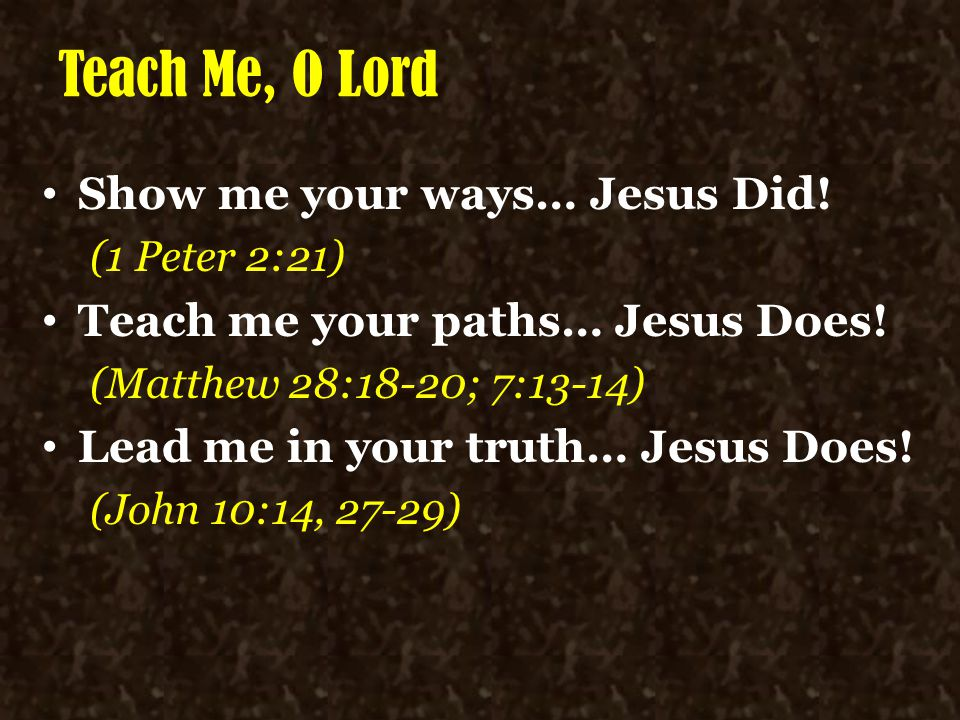 Teach Me, O Lord Show me your ways… Jesus Did! (1 Peter 2:21) Teach me your paths… Jesus Does! (Matthew 28:18-20; 7:13-14) Lead me in your truth… Jesu