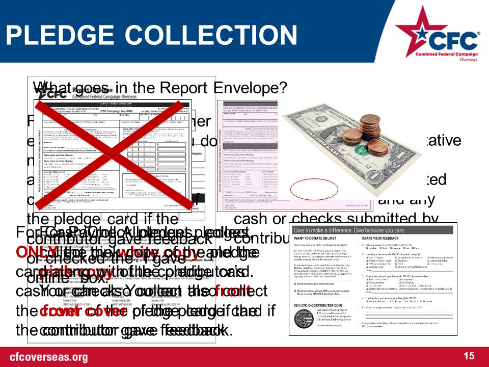 PLEDGE COLLECTION 15 Each Campaign Representative will have a weekly report envelope to collect completed paper pledge cards and any cash or checks submitted by contributors.