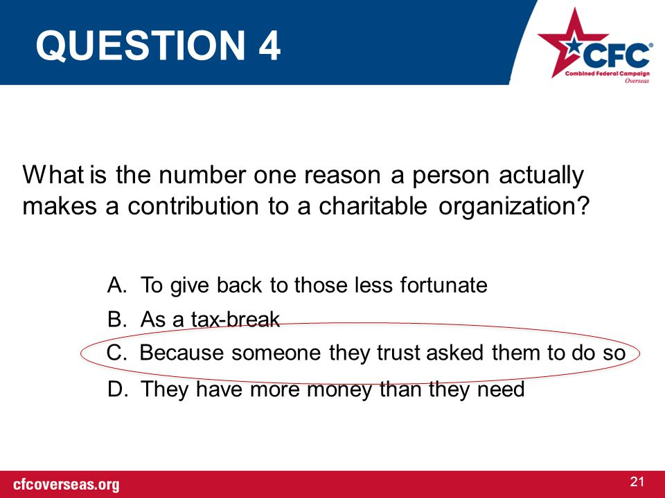 21 What is the number one reason a person actually makes a contribution to a charitable organization.