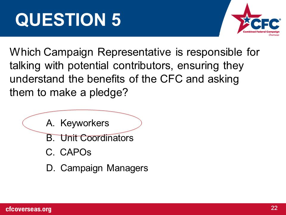 22 Which Campaign Representative is responsible for talking with potential contributors, ensuring they understand the benefits of the CFC and asking t