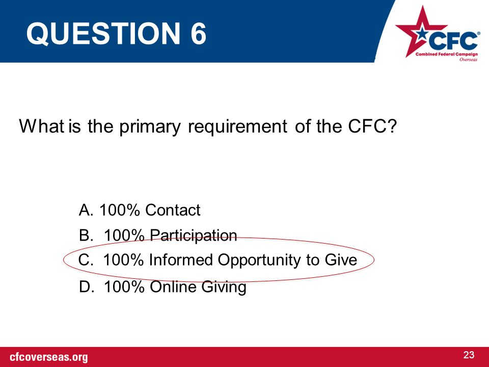 23 What is the primary requirement of the CFC? A. 100% Contact B.100% Participation C.100% Informed Opportunity to Give D.100% Online Giving QUESTION