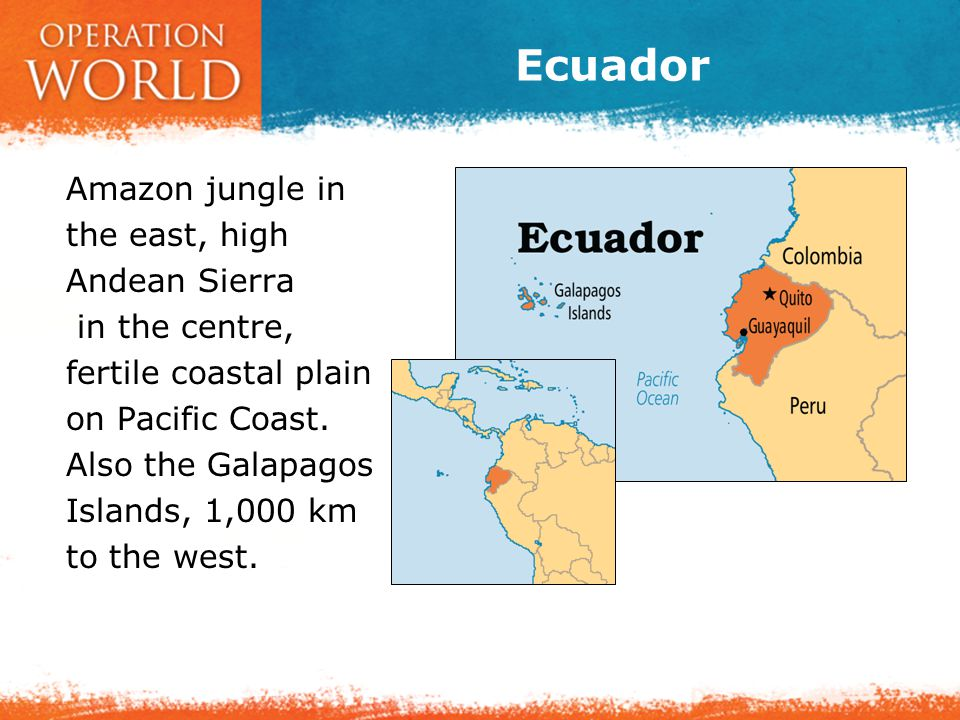 Ecuador Amazon jungle in the east, high Andean Sierra in the centre, fertile coastal plain on Pacific Coast.