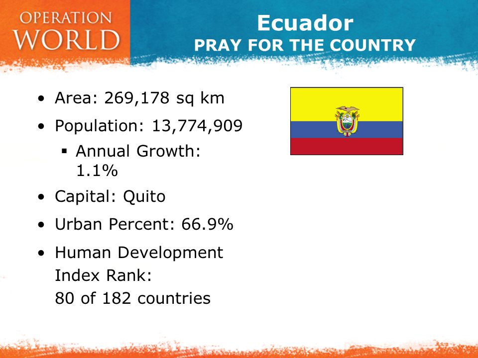 Ecuador PRAY FOR THE PEOPLE Peoples: 31 (2 unreached) Languages: 25 Official Languages: Spanish.