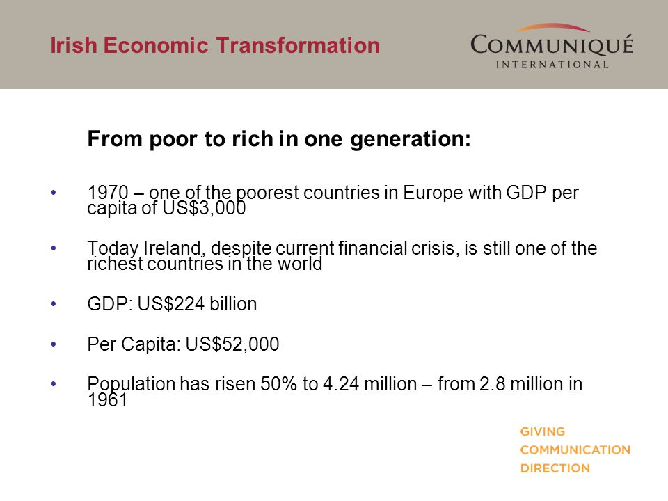 Irish Economic Transformation From poor to rich in one generation: 1970 – one of the poorest countries in Europe with GDP per capita of US$3,000 Today