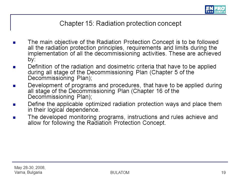 May 28-30, 2008, Varna, Bulgaria BULATOM 19 Chapter 15: Radiation protection concept The main objective of the Radiation Protection Concept is to be f
