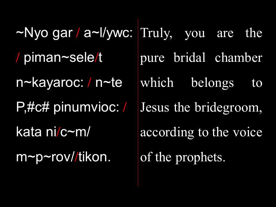 ~Nyo gar / a~l/ywc: / piman~sele / t n~kayaroc: / n~te P,#c# pinumvioc: / kata ni / c~m/ m~p~rov/ / tikon.
