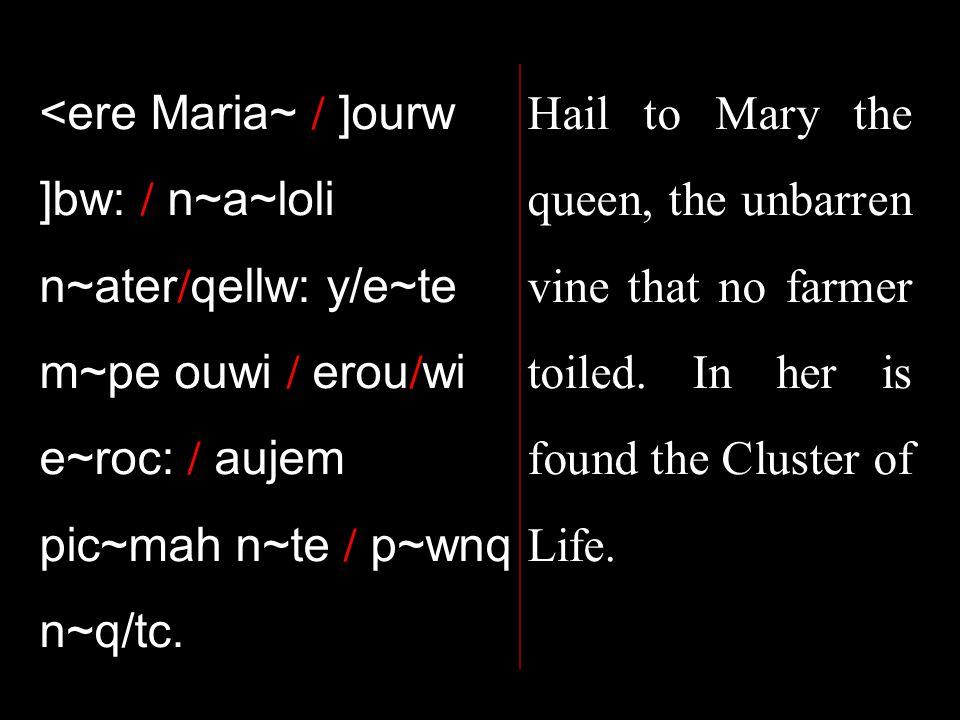 <ere Maria~ / ]ourw ]bw: / n~a~loli n~ater / qellw: y/e~te m~pe ouwi / erou / wi e~roc: / aujem pic~mah n~te / p~wnq n~q/tc.