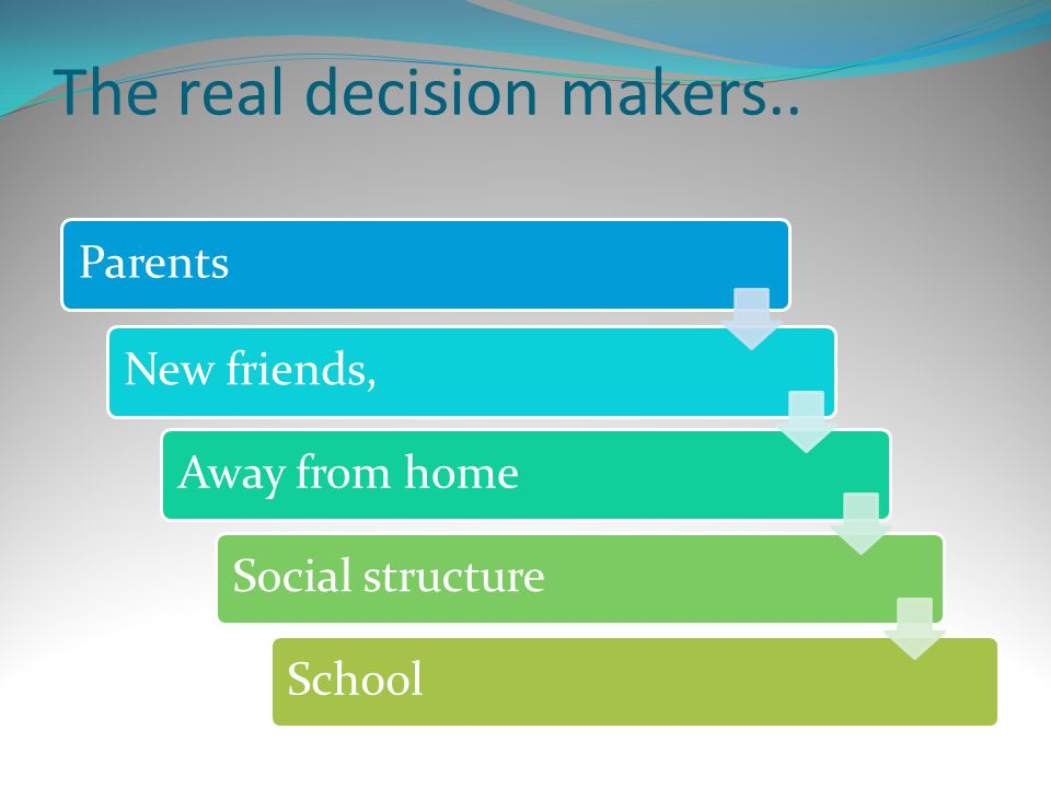 The real decision makers.. Parents New friends, Away from home Social structure School