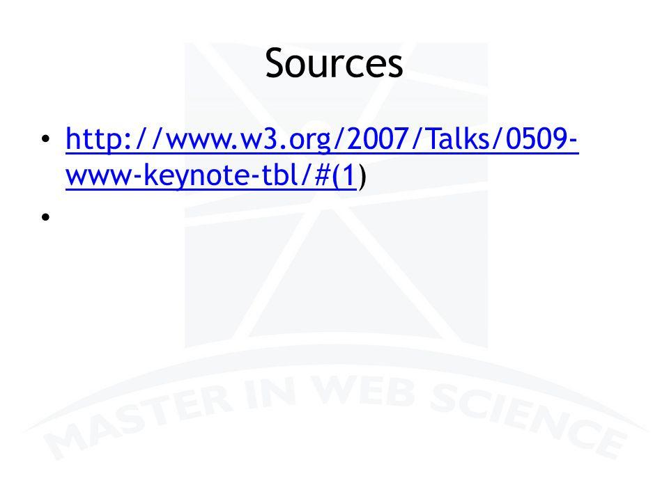 Sources http://www.w3.org/2007/Talks/0509- www-keynote-tbl/#(1) http://www.w3.org/2007/Talks/0509- www-keynote-tbl/#(1