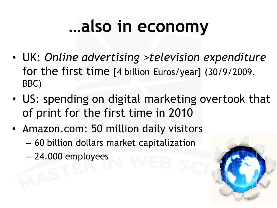 …also in economy UK: Online advertising >television expenditure for the first time [4 billion Euros/year] (30/9/2009, BBC) US: spending on digital marketing overtook that of print for the first time in 2010 Amazon.com: 50 million daily visitors – 60 billion dollars market capitalization – 24.000 employees 9