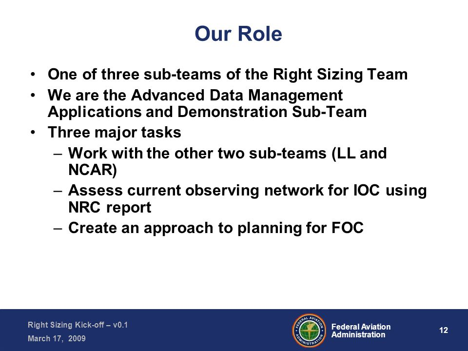 12 Federal Aviation Administration Right Sizing Kick-off – v0.1 March 17, 2009 Our Role One of three sub-teams of the Right Sizing Team We are the Advanced Data Management Applications and Demonstration Sub-Team Three major tasks –Work with the other two sub-teams (LL and NCAR) –Assess current observing network for IOC using NRC report –Create an approach to planning for FOC