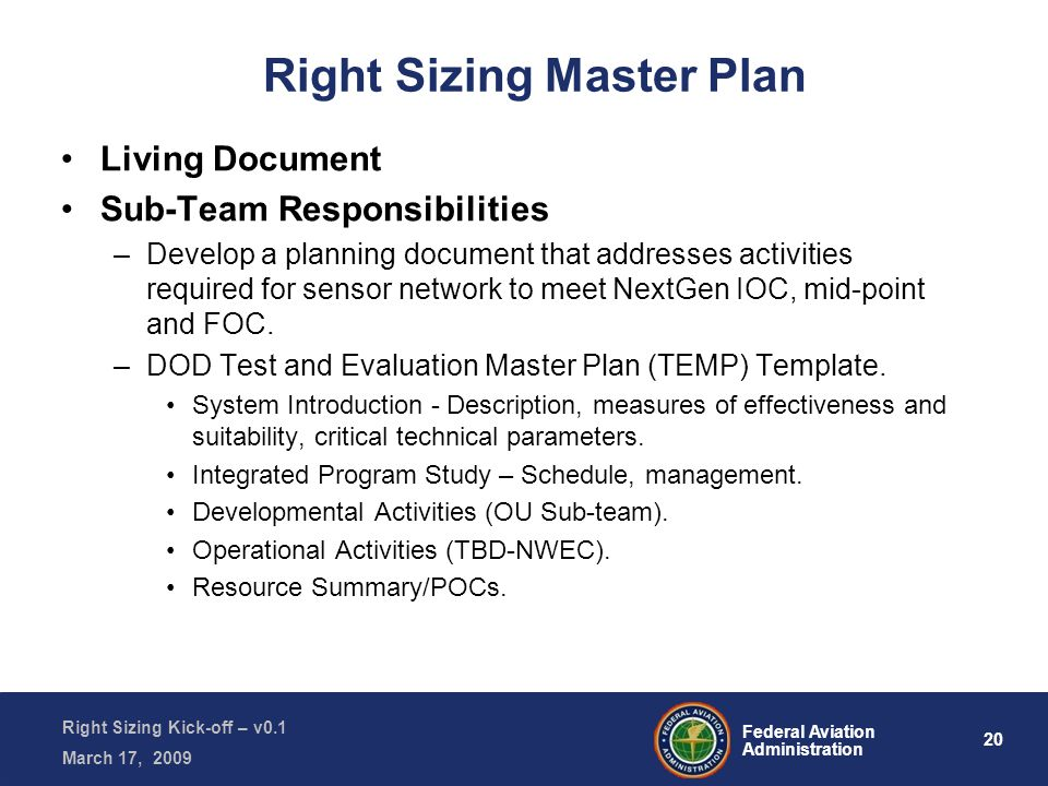 20 Federal Aviation Administration Right Sizing Kick-off – v0.1 March 17, 2009 Right Sizing Master Plan Living Document Sub-Team Responsibilities –Develop a planning document that addresses activities required for sensor network to meet NextGen IOC, mid-point and FOC.