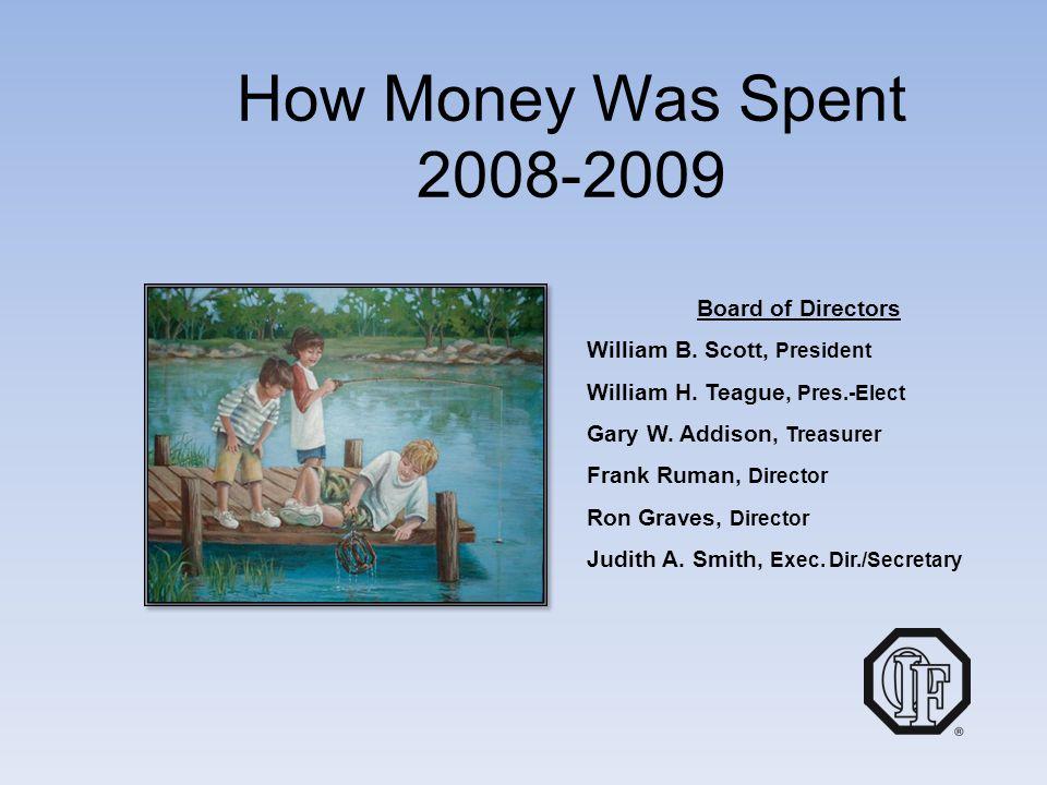 How Money Was Spent 2008-2009 Board of Directors William B. Scott, President William H. Teague, Pres.-Elect Gary W. Addison, Treasurer Frank Ruman, Di
