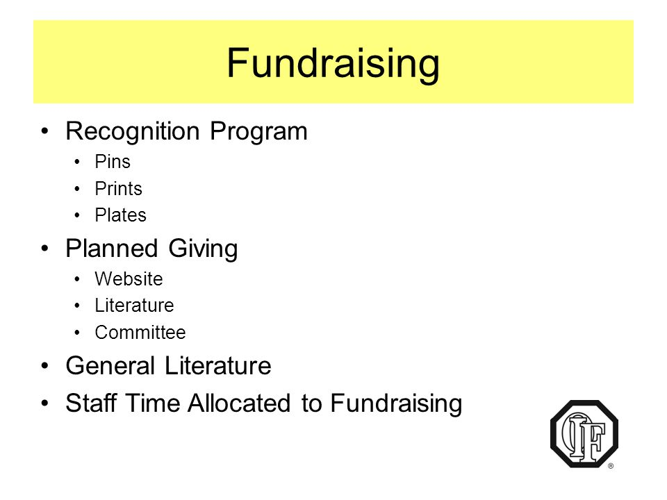 Fundraising Recognition Program Pins Prints Plates Planned Giving Website Literature Committee General Literature Staff Time Allocated to Fundraising