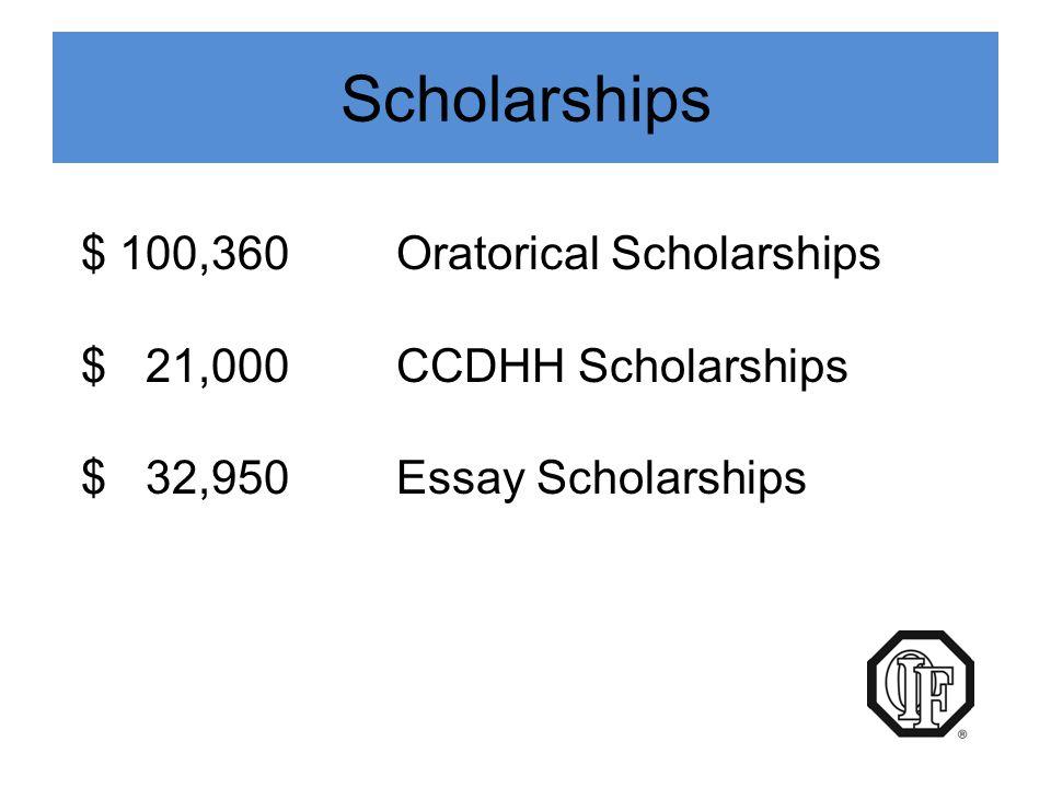 Scholarships $ 100,360 Oratorical Scholarships $ 21,000 CCDHH Scholarships $ 32,950 Essay Scholarships