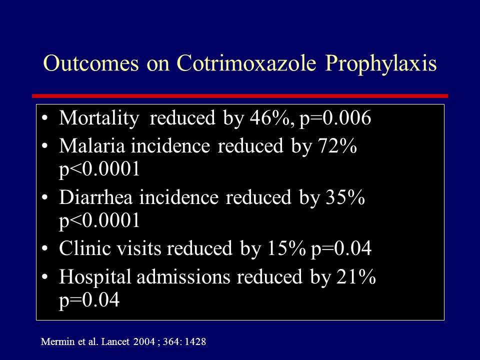 Outcomes on Cotrimoxazole Prophylaxis Mortality reduced by 46%, p=0.006 Malaria incidence reduced by 72% p<0.0001 Diarrhea incidence reduced by 35% p<