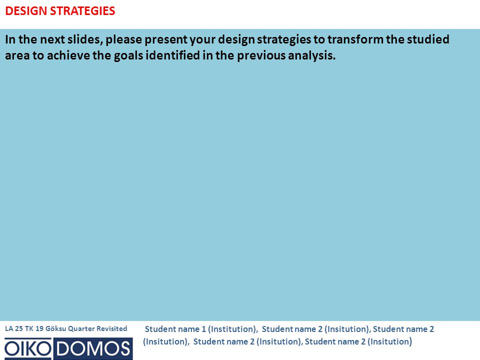 In the next slides, please present your design strategies to transform the studied area to achieve the goals identified in the previous analysis.