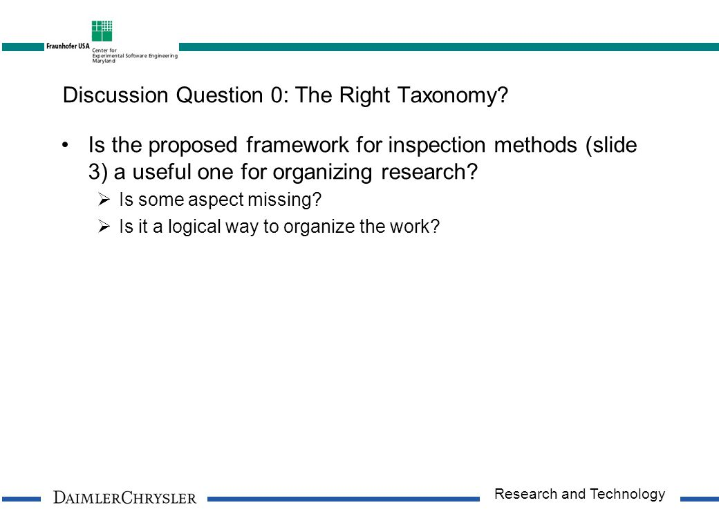 Research and Technology Discussion Question 0: The Right Taxonomy.
