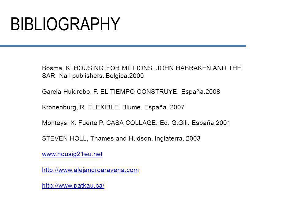 BIBLIOGRAPHY Bosma, K. HOUSING FOR MILLIONS. JOHN HABRAKEN AND THE SAR.