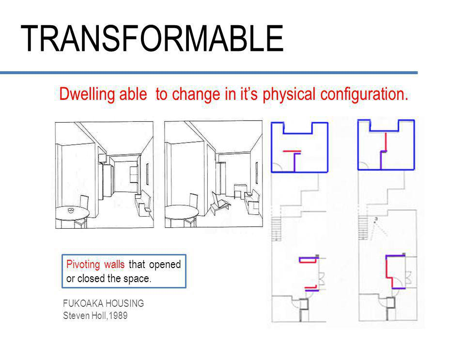 TRANSFORMABLE.Dwelling able to change in it's physical configuration.