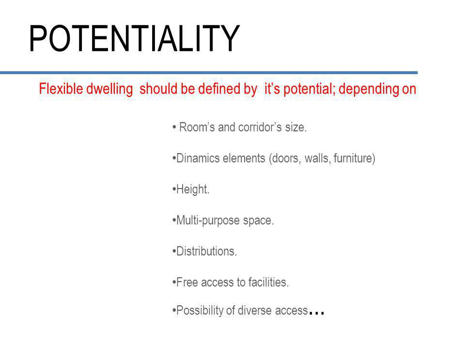 POTENTIALITY Flexible dwelling should be defined by it's potential; depending on Room's and corridor's size.