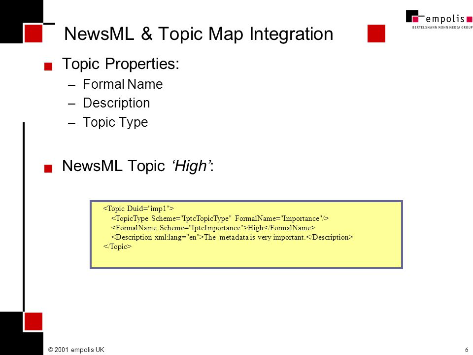 © 2001 empolis UK6 NewsML & Topic Map Integration  Topic Properties: –Formal Name –Description –Topic Type  NewsML Topic 'High': High The metadata is very important.