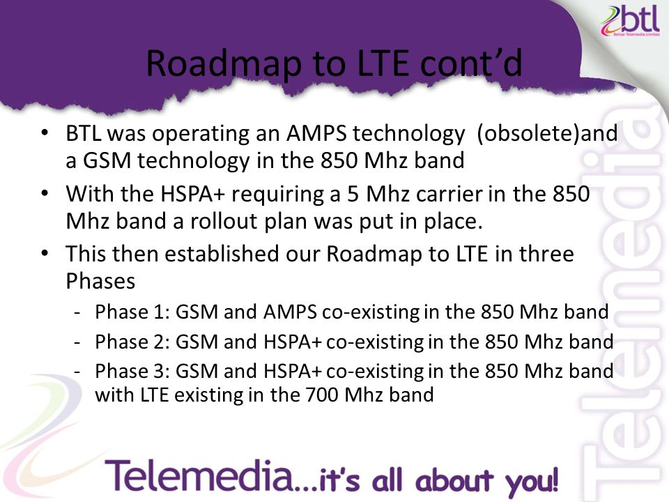 Roadmap to LTE cont'd Phase 1 Source: BTL Frequency Spectrum Authorization Application, June 2011